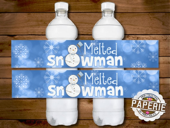 items similar to melted snowman water bottle label