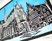 Grote Kerk Haarlem, handmade hand painted lino cut print of Dutch gothic church architecture, limited edition. Mounted, unframed.