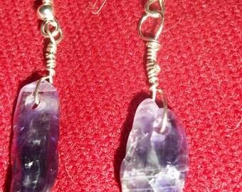 Beautiful Handmade healing amethyst crystal  earrings.