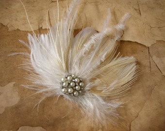 Feather Hair Clip, Wedding Accessories, Champagne Hair Clip, Feather Bridal Headpiece, Pearl Hair Clip, Feather Fascinator, White Headpiece