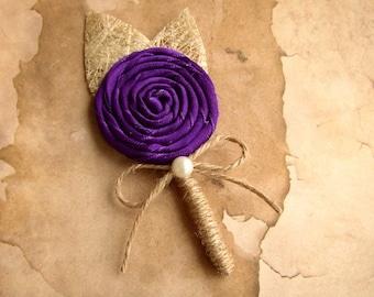 Purple Brooch Boutonniere - Deep Purple Wedding - Grooms Boutineers - Lapel Pin - Groomsmen - Purple Men's Corsage - Brooch Boutonnere