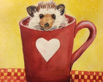 Hedgehog Valentine love card