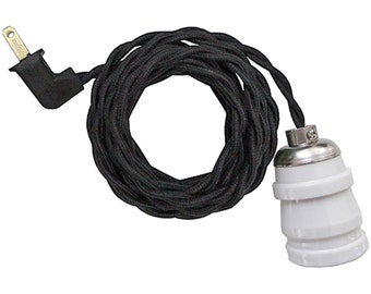 WHITE CERAMIC LAMP w/ keyless socket