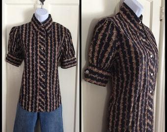Vintage 1970's Black Floral Print Prairie Puffy short Sleeve Blouse all Cotton excellent condition