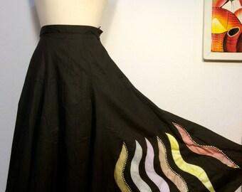 FREE  SHIPPING    1950 Hand Painted Full Circle Skirt