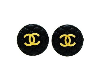 CHANEL Vintage Black Quilted Earrings with CC logo