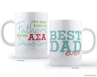 ASA Alpha Sigma Alpha Best Dad Mug Sorority Father Mug