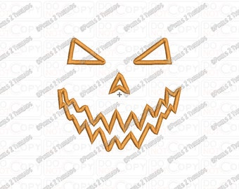 Jackolantern Pumpkin Scary Halloween Applique Embroidery Design in 3x3 4x4 5x5 6x6 and 7x7 Sizes