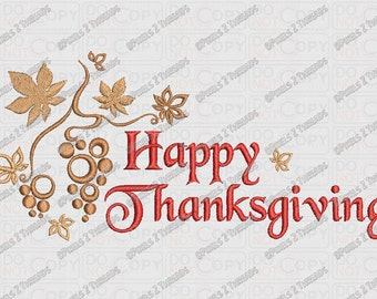 Happy Thanksgiving Fancy Script Embroidery Design in 4x4 5x7 and 6x10 Sizes