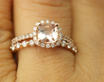 Kylie & Brooke 2 Set - Morganite and Diamond Halo Engagement Ring and Diamond Wedding Band in Rose Gold, Free Shipping