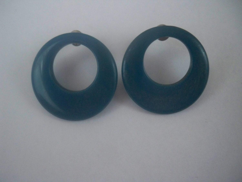 Cute Mini Center Hoop Earrings Vintage TEAL by ...