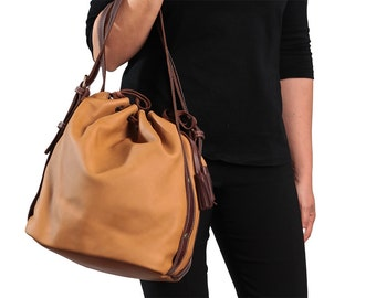 Bucket bag, Camel brown leather purse, Leather bucket purse, Everyday bag