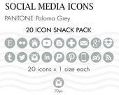 Social Media Icons Pantone Paloma Grey 20 Icons Instant Download