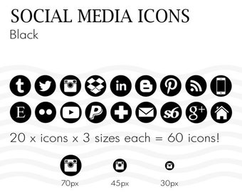 Social Media Icons 60 Black and White - Instant Download