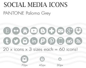 Social Media Icons 60 Pantone Paloma Grey - Instant Download