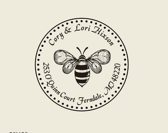 Rustic return address stamp ( 1.8X1.8 ) - Custom Bee family address Stamp  - custom wedding address stamp - return addresss Rubber Stamp