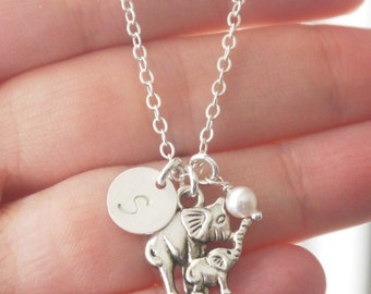 Elephant Charm Necklace, Personalized Elephant Jewelry, New Mother Gifts, Mother Baby Necklace, Mommy Baby Jewelry, Elephant Baby, CDCB