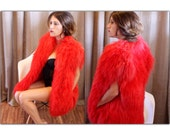 Vintage Vest 70s Red Mongolian Lamb Fur Curly Shaggy Chubby Vest Jacket Disco Glam
