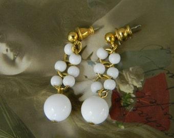 Vintage MONET BEAD EARRINGS White Dangle Drop Pierced Earrings