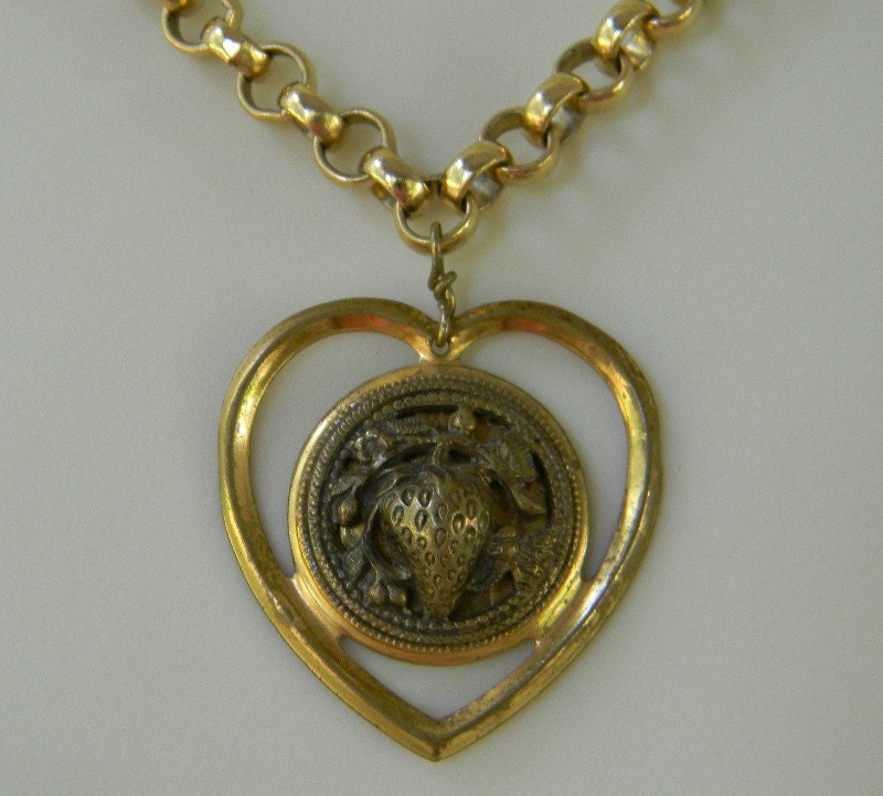 victorian button strawberry heart pendant by loverslanejewelry