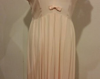 Vintage Light Peach Dress with Bows