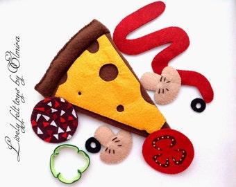 Felt pizza, pizza, felt food, food for play, play food, play pizza, toy food, toy pizza, Pizza, slice of pizza, plush food