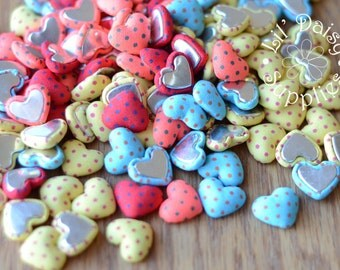 """GRAB BAG Heart Buttons, Polka Dot Heart Buttons .75"""", Fabric Buttons, Flat Back Buttons, Multiple Colors, Wholesale Buttons, Fabric Hearts"""