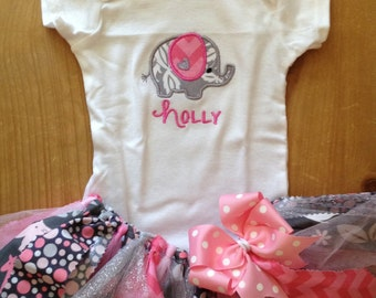 Pink and Grey Elephant Tutu Outfit
