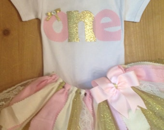 Light Pink, Ivory, and Gold 1st Birthday Scrap Fabric Tutu Outfit