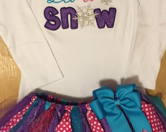 Pink, Purple, and Turquoise Let it Snow Tutu Outfit