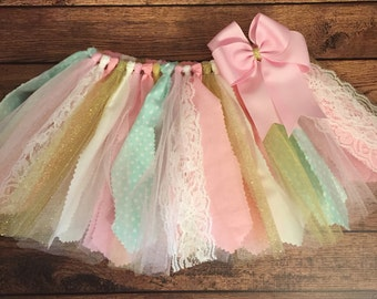 Light Pink, Ivory, Mint, and Gold Scrap Fabric Tutu