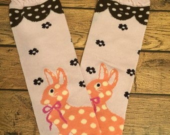Pink and brown Easter bunny legwarmers