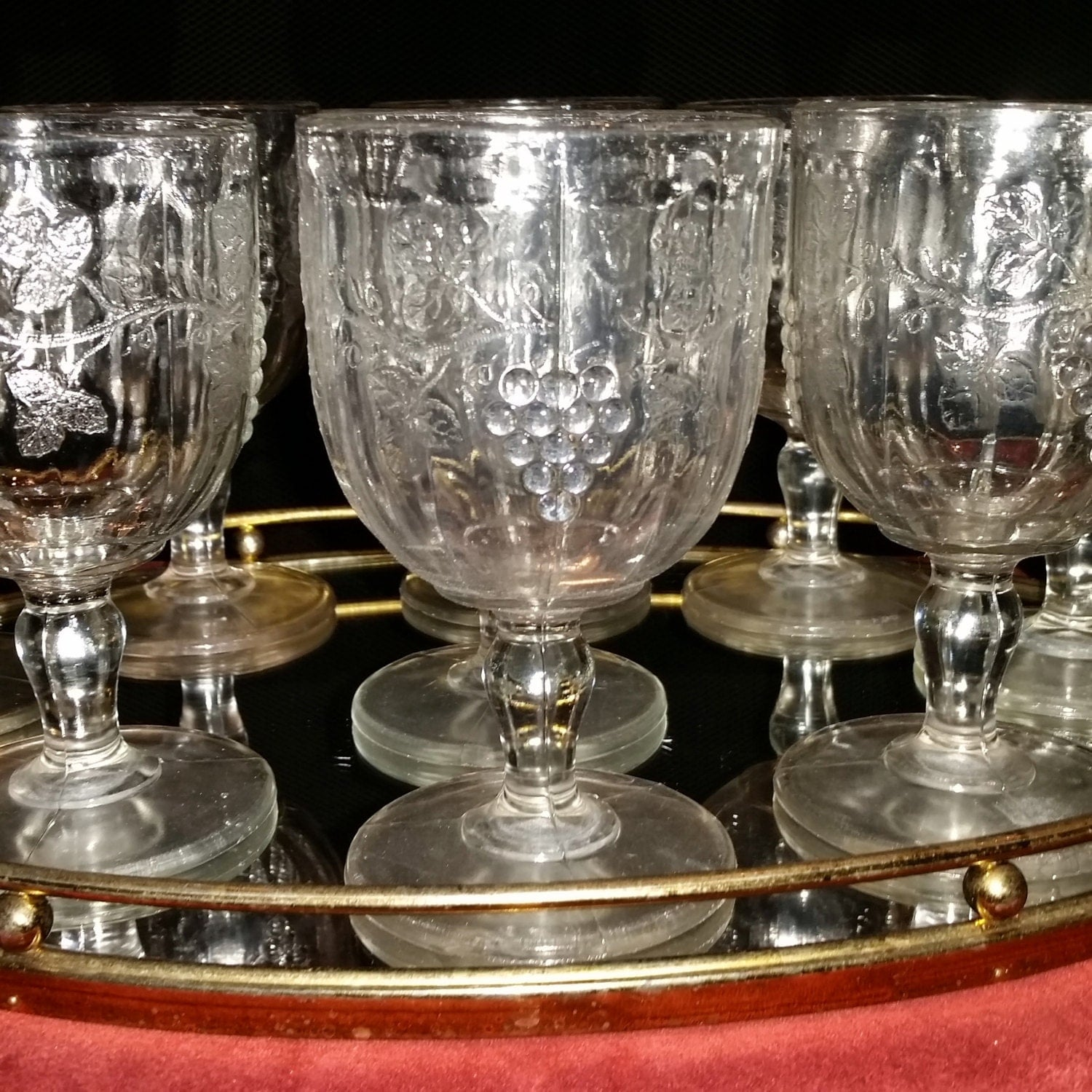 Antique Grapevine Pattern Pressed Glass Set Of By