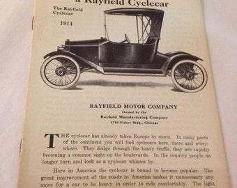 Vintage 1914 Rayfield Motor Co. Cyclecar Chicago IL flyer repri