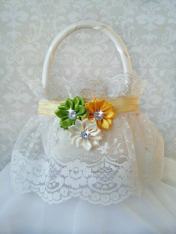 How To Make A Lace Flower Girl Basket : Ivory lace flower girl baskets yellow and green