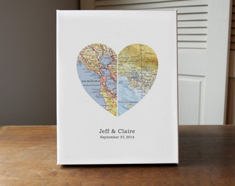 Custom Heart Map Wedding Gift, Heart Map, Gift for Couple, Anniversary Gift, Engagement Gift - 1st anniversary