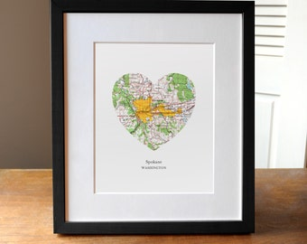 Spokane Washington Heart Map Print, Spokane City Art, Washington Map Print, Custom City Art