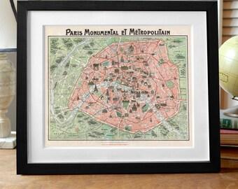 Paris Mapa grabado, impresión de impresión, Francia París, Paris Francia mapa grabado, arte de París, Francia