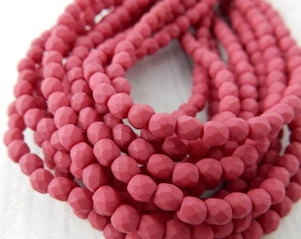 Faceted Round SATURATED FUCHSIA Czech Glass Round Beads 3mm Qty 50 Firepolished Small, Gorgeous Pink with a Velvet Finish