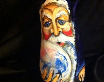 NEW! A Hand Painted Wizard on a cut gourd standing 10 inches tall