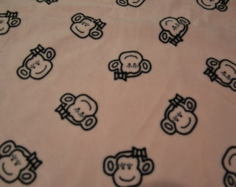 "light pink smooth minky with monkey's & bows minky fabric 22"" x 36"" piece,soft perfect for blankets destash price"