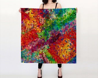 """Colorful  silk scarf - popular """"Color Theory"""" design , red, green, blue, goes with everything, - accessories, scarves"""
