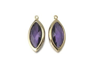 Amethyst Glass Pendant . Jewelry Craft Supplies . 16K Polished Gold Plated over Brass  / 2 Pcs - CG035-PG-AM