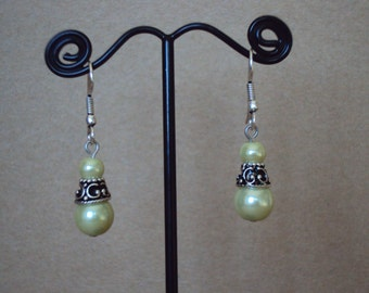 Light Green Glass Pearl Silver Plated Drop Earrings