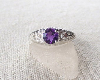 R84 Brazilian Amethyst Genuine Natural Ring in a Vintage Style Sterling Silver Setting