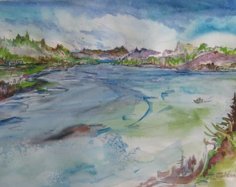 Watercolor painting Nestucca River at Pacific City Oregon North View