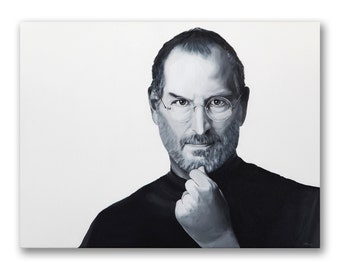 Steve Jobs, acrylic painting on canvas by Moe Notsu