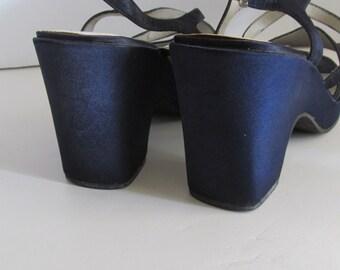 sz 6 Cobalt Blue Wedge Heel Blue Sandals Wedding Shoes Something Blue Bridesmaid Sandals Evening Wear Blue Shoes Office Clothing