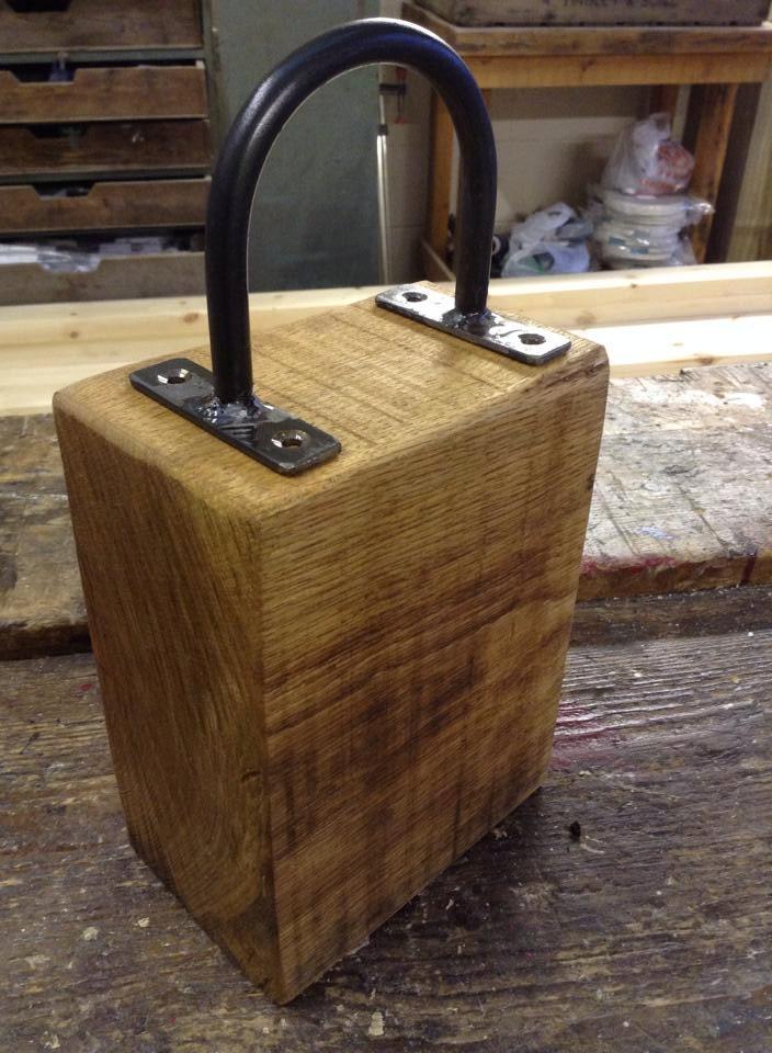 Handmade Rustic Farmhouse Industrial Style Solid Oak Door