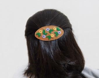 Floral french clip, Brown barrette, Felt hair clasp